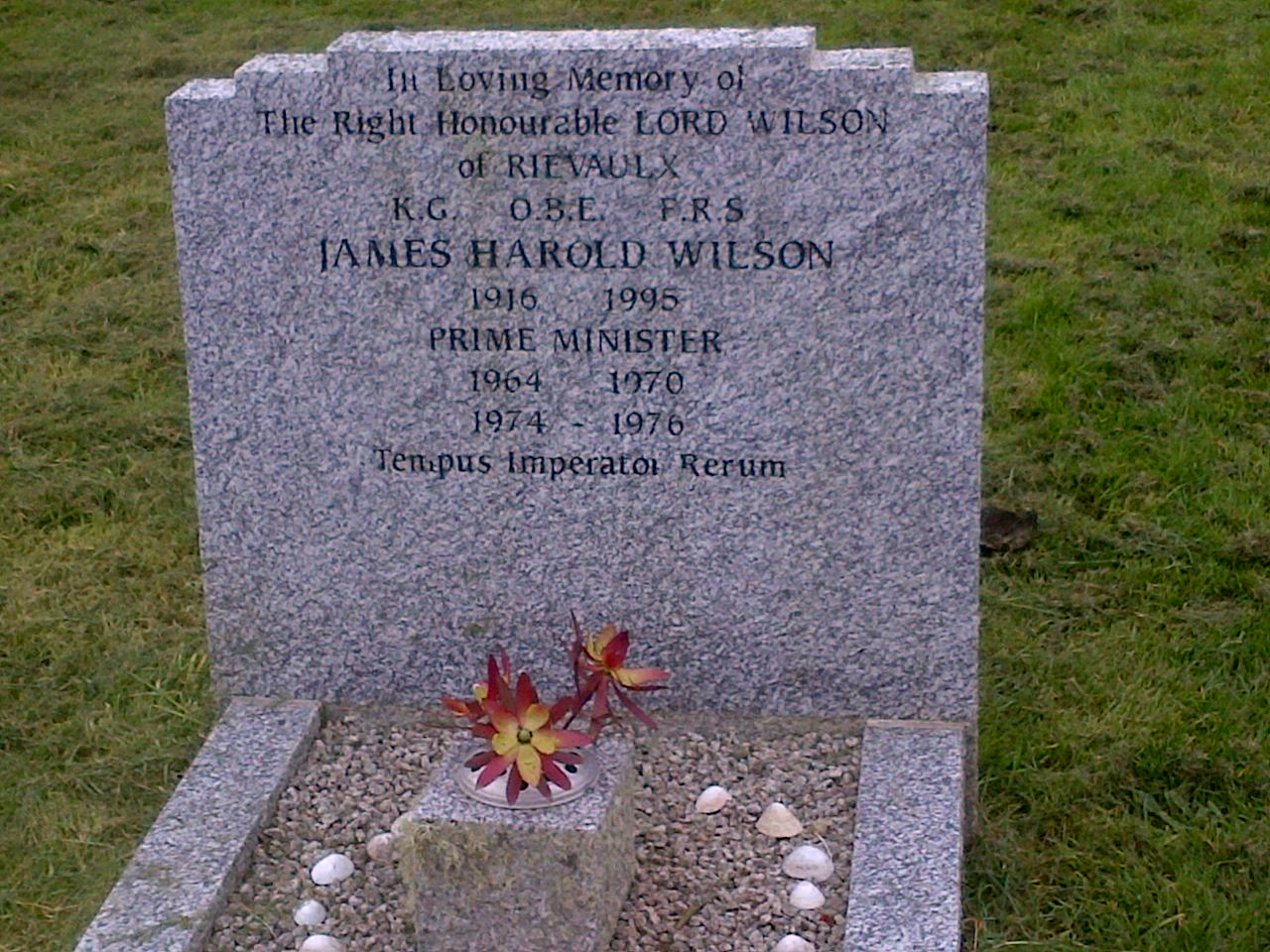 Grave of Harold Wilson at church on St Mary's, Isles of Scilly